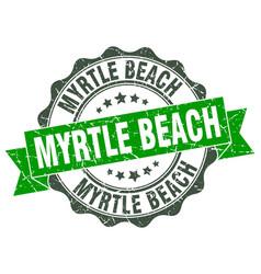 Myrtle beach round ribbon seal vector