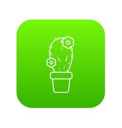 needle cactus icon green vector image