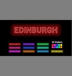 Neon name of edinburgh city vector