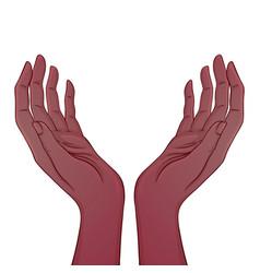 Open african american hands occult design vector