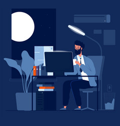 person late work business character night working vector image