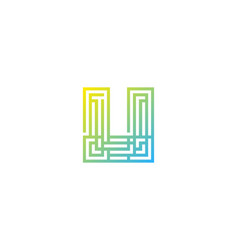 pixel letter u logo icon design vector image