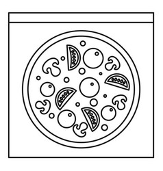Pizza with mushrooms olives tomatoes icon vector