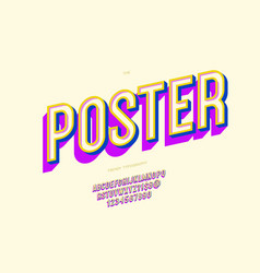 Poster font 3d bold style vector
