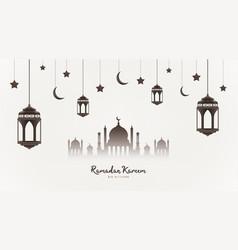 Ramadan kareem background mosque silhouette vector