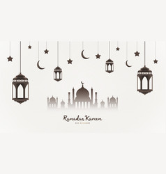 ramadan kareem background mosque silhouette with vector image