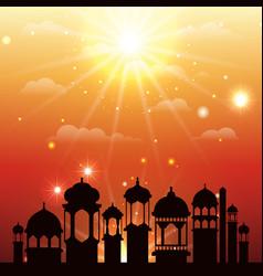 Ramadan kareem cityscape silhouette scene vector