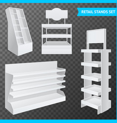 Retail stands set transparent vector