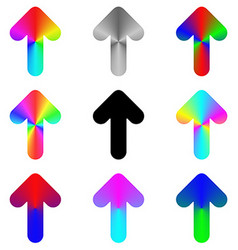Rounded rainbow arrow icon design set vector image