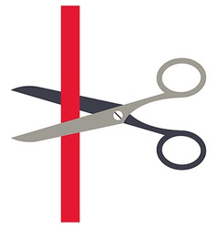 Scissors cutting a red ribbon vector image
