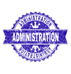 Scratched textured administration stamp seal vector