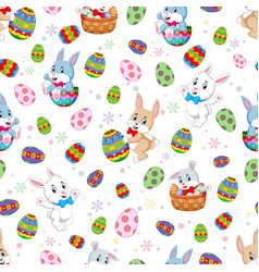 seamless pattern easter bunnies vector image