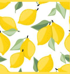 Seamless pattern lemon and leaves vector