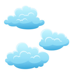set blue clouds on white background vector image