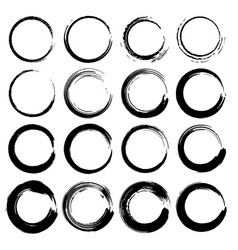 set grunge circles grunge round shapes vector image