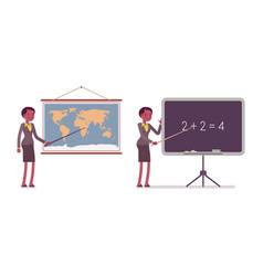 set of female teacher near the map blackboard vector image