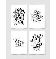 set of four black and white handwritten lettering vector image