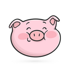 shyly smiling emoticon icon emoji pig vector image