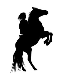 silhouette of a girl and and her rearing stallion vector image