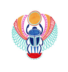 Sketch marker drawing egyptian deity scarab vector