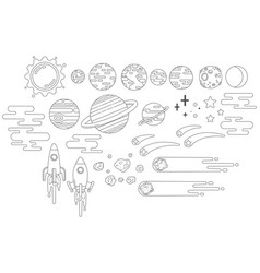 Space graphics outline vector