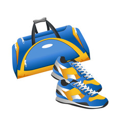 sport accessory training bag and sneakers flat vector image