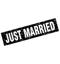 square grunge black just married stamp vector image vector image