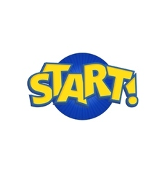 Start phrases written in a cartoon game vector image