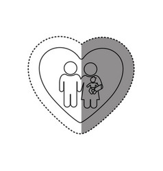 Sticker of monochrome silhouette of heart and vector