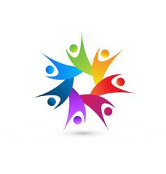 Teamwork people energetic towards reaching their vector