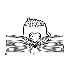 Text book with coffee cup day celebration vector