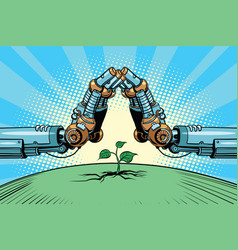 The robot arm protect green sprout technology vector