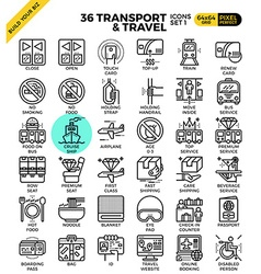 Transport Travel outline icons vector image
