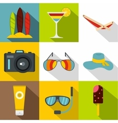 Travel to sea icons set flat style vector