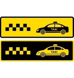 Two black and yellow taxi icons vector