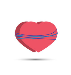 two hearts tied with a rope vector image