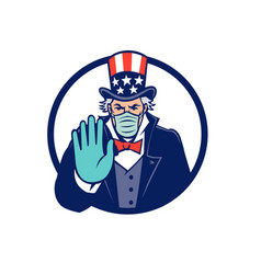 Uncle sam wearing mask stop hand signal mascot vector