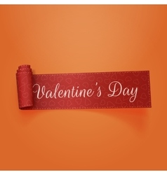 Valentines Day realistic scroll Ribbon vector