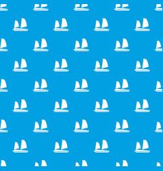 Vietnamese junk boat pattern seamless blue vector
