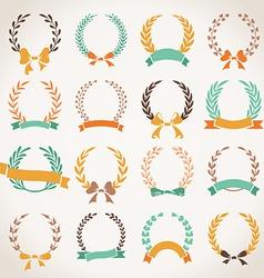 Vintage set of laurel wreaths vector