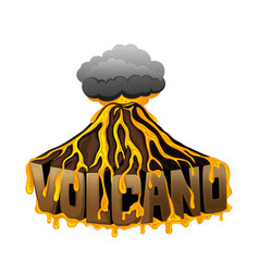 Volcano with a cloud vector