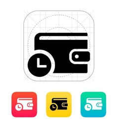 Wallet with timer icon vector image vector image