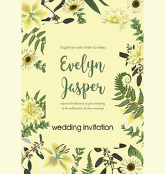 Wedding invite invitation card floral with vector