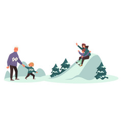winter fun on vacation family sloping from hills vector image