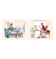 Work in office and at home businessman routine vector