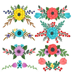 collection of flower bouquet embellishments vector image vector image