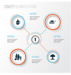 combat icons set collection of atom rocket vector image vector image