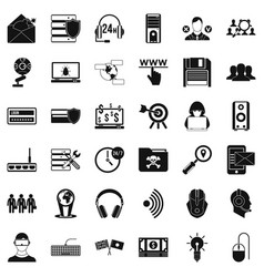Cyber crime icons set simple style vector
