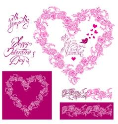 flower frame heart 2 380 vector image vector image
