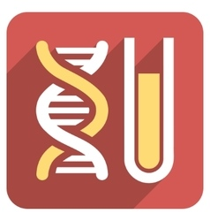Genetic Analysis Flat Rounded Square Icon with vector image vector image